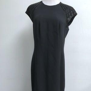 RALPH LAUREN BLACK LABEL SILK SHEATH BEADED DRESS